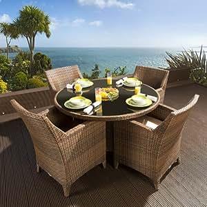 gartenm bel aus rattan mit rundem tisch und 4. Black Bedroom Furniture Sets. Home Design Ideas