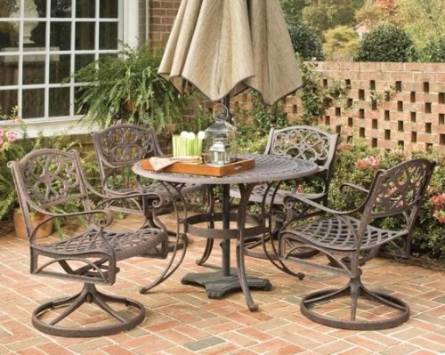 "Home Styles 5 Piece 42"" Round Outdoor Dining Set with Swivel Chairs"