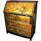 Oriental Furniture Asian Home Office Furniture, 42-Inch Ming Chinese Black Lacquer Gold Leaf Drop Front Secretary Desk, width 43cm