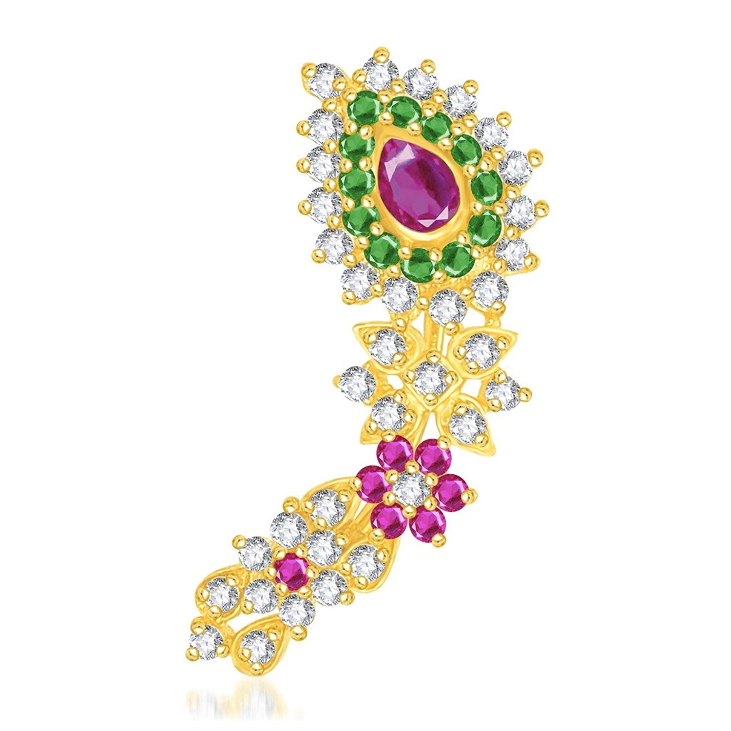 VK Jewels Traditional Gold Plated Maharashtrian Nose Ring made with Cubic Zirconia - NR1003G [VKNR1003G]