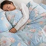 羽毛布団 掛け布団 エクセルゴールドラベル ダウン90% 国産 掛け布団 5年保証 シングルロング ブルー 花柄