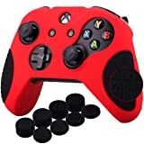 YoRHa Thickened Rubber Silicone Cover Skin Case 3D Letters Massage Grip for Xbox One S/X Controller x 1(Red&black) With PRO Thumb Grips x 8 (Color: red black, Tamaño: 3D Texture)