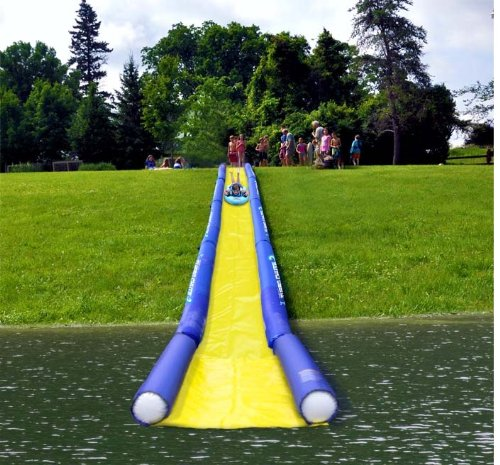 Rave Sports 02472 Inflatable Turbo Chute Commercial Water Slide Lake Package