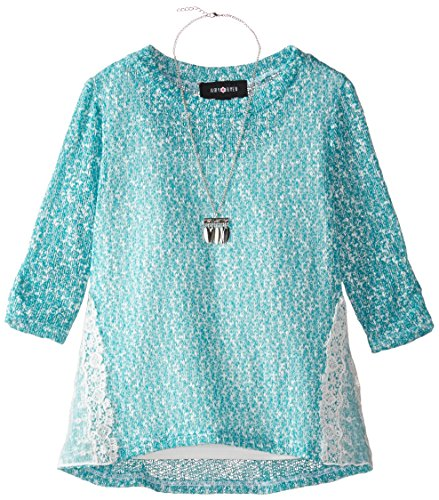 Amy Byer Big Girls' Lined Sweater Knit Top with Lace Insets, Teal, Large