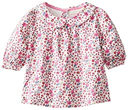 JoJo Maman Bebe Baby Girls\' Pretty Floral Blouse, Pink, 12 18 Months