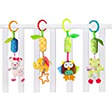 Daisy 4 Packs Infant Baby Plush Adorable Animal Car Seat Hanging Rattle Toy Kids Stroller Crib Pram Ornament Bells Puppet with Wind Chime and Squeak