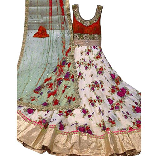 Latests Bhagalpuri Net Floral Red Cream Dress Material