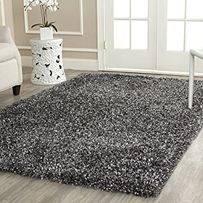 Safavieh Milan Shag Collection MLS431C Handmade Charcoal Polyester Area Rug