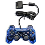 ElementDigital® Wired Game Gaming Controller for PS2, Clear Blue Wired Game Pad Gamepad Console Joypad Controller Joysticks Compatible with PlayStation 2 (Color: Blue)