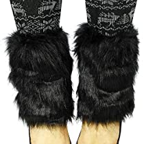 Simplicity Faux Fur Boot Sleeves Soft Fuzzy Leg Warmers Women Ladies
