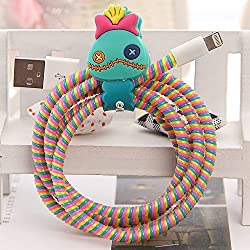 Tospania DIY Cartoon Style Spiral Wire Protectors for Apple Lightning Cables/Samsung and other Tablet Charging Cables/ Earphone Cords and More (Scrump)
