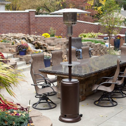 this deals sense hammered bronze patio heater with adjustable table this review