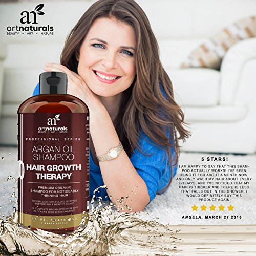 Art Naturals Organic Argan Oil Hair Loss Shampoo for Hair Regrowth 16 Oz -Sulfate Free-Best Treatment for Hair Loss,Thinning & Aging-Product For Men & Women-Infused with Biotin-3 Month Supply