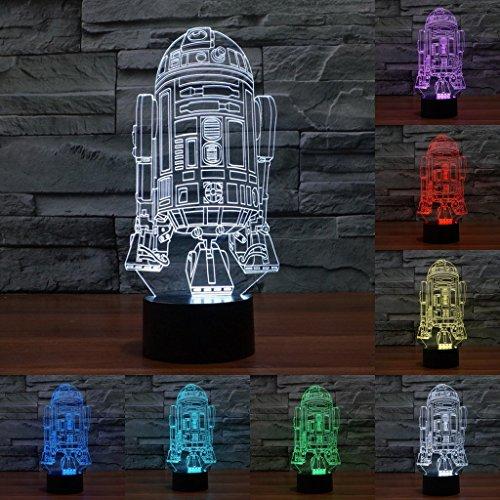 3D Chain Optical Illusion LED Lighting Room Decorative Lamp - Star Wars Force Awaken R2-D2 Robot