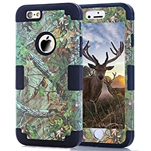 iPhone 6 Cases, JDBRUIAN Forest Camouflage Pattern Design 3in1 Hybrid Hard soft Premium Heavy Duty Defender Dual Layer Protector Hybrid Phone Cover Case for iPhone 6/6S (4.7 inch) - Black
