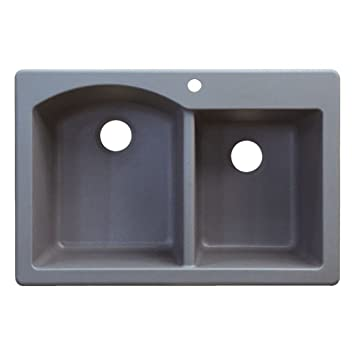 Transolid ATDD3322-17 Aversa 22-in W x 33-in L Granite Double Offset Drop-in Kitchen Sink, Grey