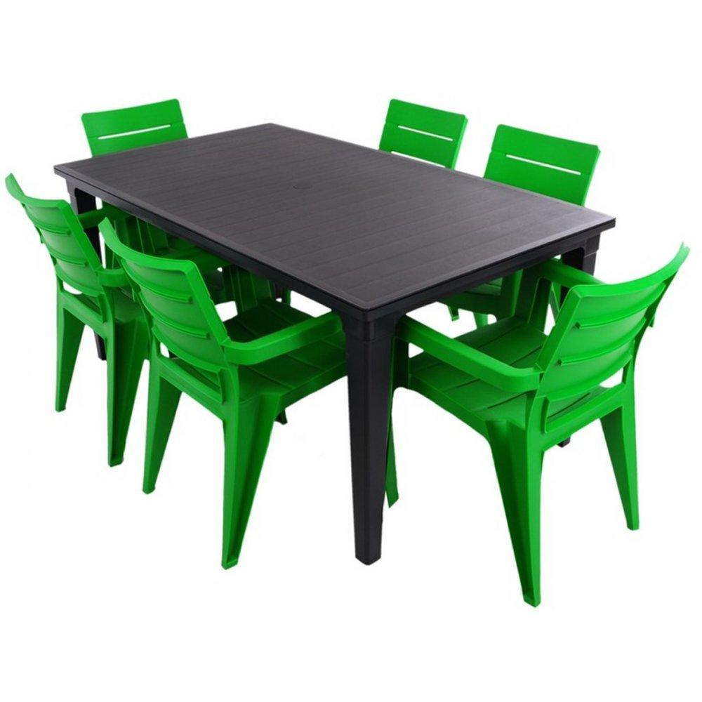 JUSThome Ibiza Gartenmöbel Sitzgruppe Gartengarnitur Set 6x Stuhl + Tisch Grün Schwarz