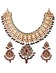 TKD Jewellers White And Red Color Traditional Wear Gold Plated Kundan Chain For Women (TKDJ003)