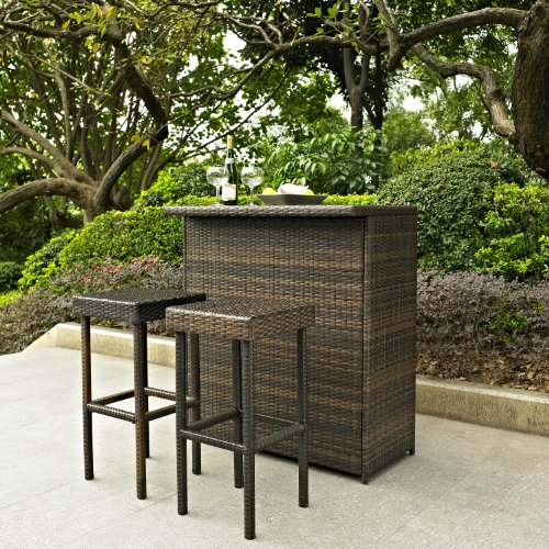 Palm Harbor 3 Piece Outdoor Wicker Bar Set - Table & Two Stools image