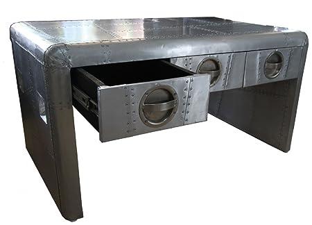 Casa Padrino Luxus Designer Aluminium Couchtisch mit Schubladen - 98 cm x 61 cm x H54 cm - Art Deco Vintage Flieger Möbel