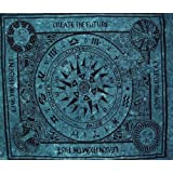 Celtic Cycle of Ages Tapestry Coverlet Bedspread Teal