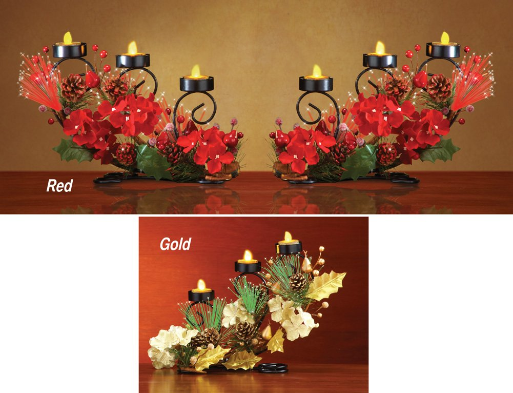 Holiday Floral Staggered Led Tealight Holder Decoration Gold