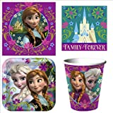 Disneys Frozen Party Supplies Pack for up to 24 guests, Including 24 Plates, 24 Cups and 64 Napkins