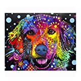 "Golden Retriever Colorful Animals Wall Decoration Art Image Printed on 11""x14"" Metal Ready to Hang From Picture It on Canvas"