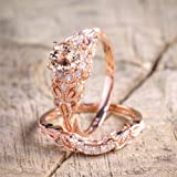 Finemall Fashion Elegant Women 18K Rose Gold Filled Morganite AAA Zircon Pink Gemstone Wedding Bridal Ring Set(Size 6-10) (Size 6) (Color: Rose gold, Tamaño: size 6)