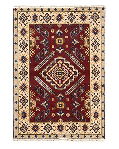 Hand-Knotted Royal Kazak Wool Rug, Dark Red, 4′ x 5′ 10″ As You See