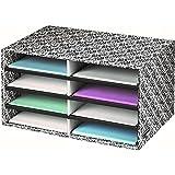 Fellowes Bankers Box Decorative Eight Compartment Literature Sorter, Letter, Black/White Brocade (6170301)