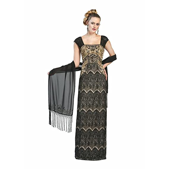 Sue Wong Womens Beaded Lace Overlay Evening Dress