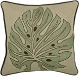 Rizzy Home T-3831 18-Inch by 18-Inch Decorative Pillows, Green/Khaki, Set of 2