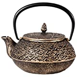 Black and Gold Pine Needle Tetsubin Teapot