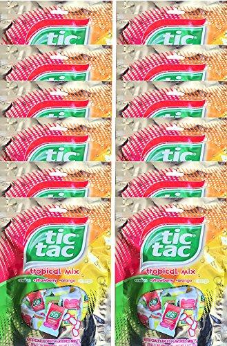 Tic Tac Tropical Mix Melon, Strawberry, Orange, Mango, Mini Packs Net Wt 3.3 Oz (12) (Tic Tac Mini Packages compare prices)