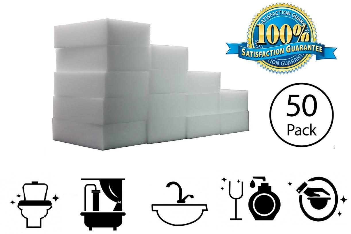 STK 50 Pack Extra Thick Magic Cleaning Sponges - Eraser Sponge For All Surfaces - Kitchen-Bathroom-Furniture-Leather-Car-Steel - Just Add Water to Erase All forms of Dirt - Melamine - 1 Year Supply