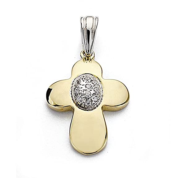 18k gold cross pendant 23mm bicolor. zircons [7907]