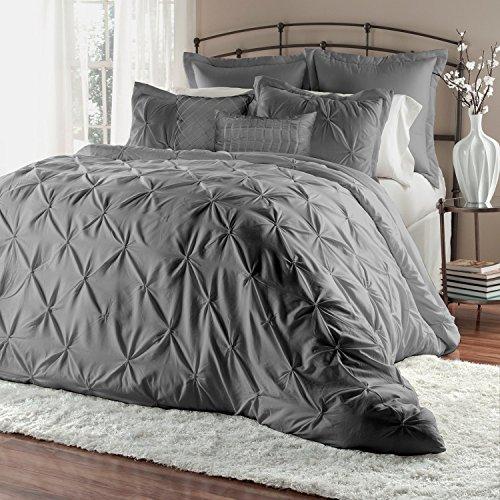 Townhouse Caraline 7 Piece Comforter Set Pinch Pleat Color Bed in a Bag Bedding Comforter Duvet, Fade Resistance, Super Soft (King, Gray)