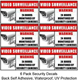 6 Pack Weatherproof Home Business Security DVR Camera Video Surveillance System Window Door Warning Alert Sign Sticker Decals **Back Self Adhesive, UV Protected and waterproof **