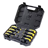 Bratsk Professional Screwdriver Set ,8 Pieces Phillips and Slotted NON-SLIP Wide Comfortable Handle Magnetic Antistatic Heavy Duty Screwdriver Tool Kit (Color: 8 piece)