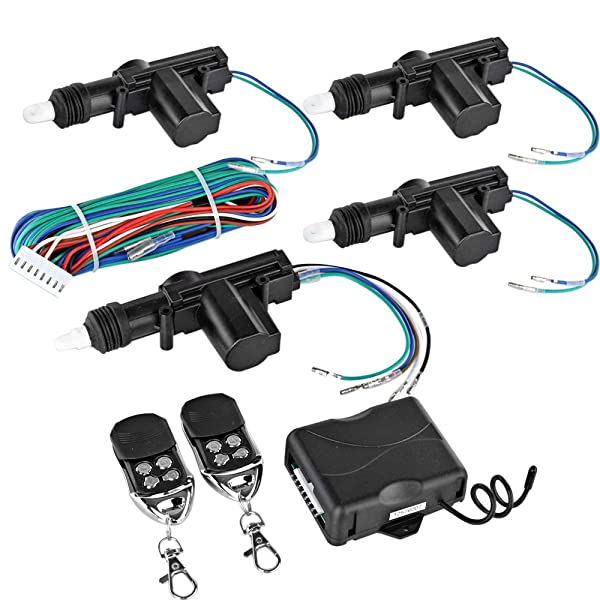 Flexzion Universal Car Keyless Entry System Kit 4 Door Power Central Locking Actuator Motors with 2 Remote Controllers Lock Unlock Conversion for Vehicle Vans SUV Truck