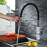Homelody® Schwarz Küchen Aramtur Spüle Spültisch Küchenarmatur Spültischarmatur Wasserhahn Spiralfederarmatur für die Profiküche Wasserkran