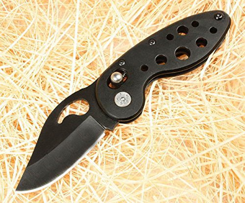Outdoor Rescue Black Pocket Folding Strap Holder Knife K8005-5.70''