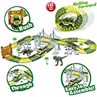 Race Car Track Toy with 142 Pieces Flexible Tracks Set