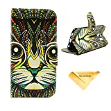 Se7enline Fashion Fresh Cute Flip Wallet Stand Case Cover for Samsung Galaxy S6 with PU Leather and Card Slots,Bohemian Tribal Totem Cat Pattern