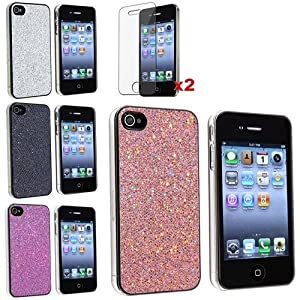 4 Aic Silver Bling Glitter Hard Case Skin compatible with iPhone? 4 4G Version iPhone? 4S - AT&T, Sprint, Version 16GB 32GB 64GB, with 2 screen protector free