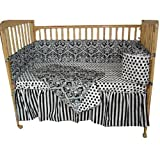 Damask Black and White Crib Set