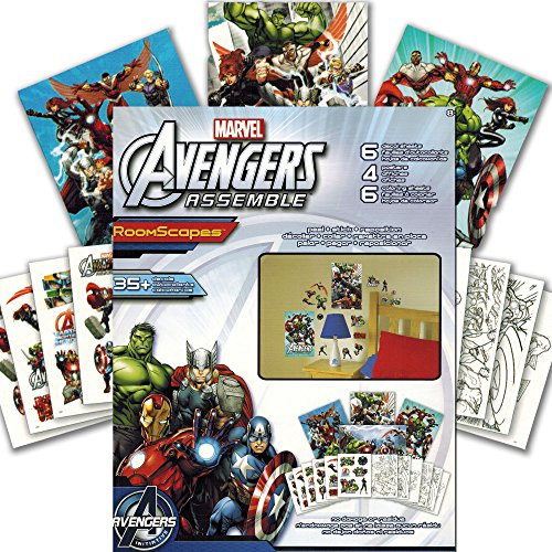 Marvel avengers wall stickers and poster activity book for Avengers wall mural amazon