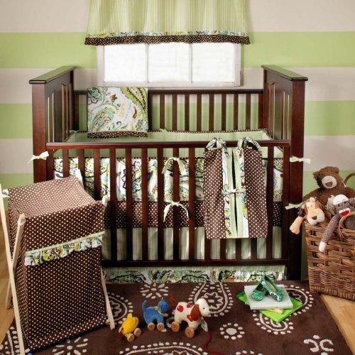 My Baby Sam Paisley Splash 3 Piece Crib Bedding Set, Lime - 1