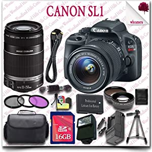 """Canon EOS Rebel SL1 Camera with EF-S 18-55mm STM + Canon EF-S 55-250mm IS II Lens + 16GB SDHC Class 10 Card + Wide Angle Lens / Telephoto Lens + 3pc Filter Kit + HDMI Cable + SLR Gadget Bag + 57"""" Tripod + External Slave Flash 20pc Canon Saver Bundle"""